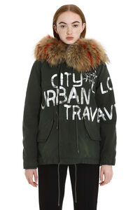 Jazzy fur hood short parka, Down Jackets Mr & Mrs Italy woman