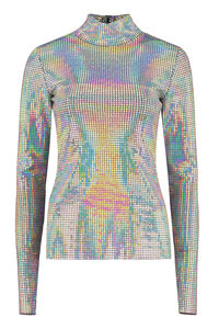 Iridescent fabric top, Long sleeved MSGM woman