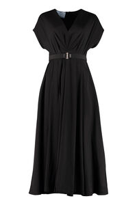 Gathered flared crepe dress, Maxi dresses Prada woman