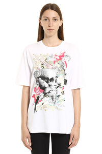 T-shirt in cotone con stampa Gilded Skull, T-shirt Alexander McQueen woman
