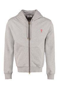 Cotton full zip hoodie, Zip through AMI man