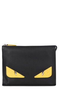 Bag Bugs detail Romano leather pouch, Poches Fendi man