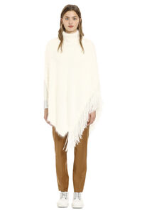 Fringed knit poncho, Poncho Fabiana Filippi woman