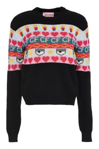 Intarsia wool and cashmere blend sweater, Crew neck sweaters Chiara Ferragni Collection woman