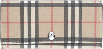 Continental wallet with check motif