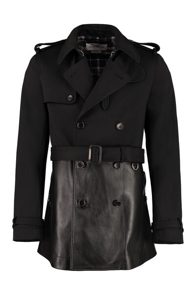 Double-breasted wool and leather coat