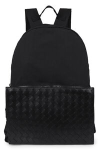 Medium leather and nylon backpack, Backpack Bottega Veneta man