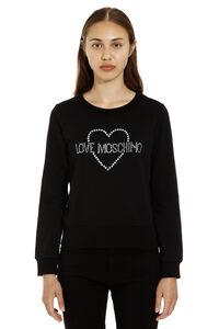 Logo detail cotton sweatshirt, Sweatshirts Love Moschino woman