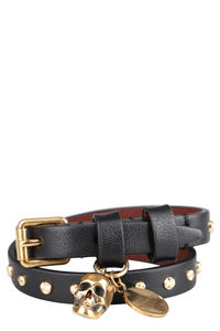 Skull charm leather double-wrap bracelet, Bracelets Alexander McQueen woman