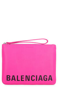 Logoed flat leather pouch, Clutch Balenciaga woman