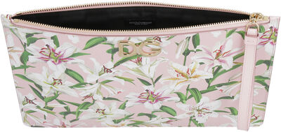 Printed calf leather pouch