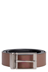 Leather and fabric reversible belt, Belts Burberry man