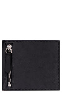 Leather flap-over wallet, Wallets Maison Kitsuné man