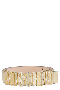 Metallic leather belt, Belts Moschino woman