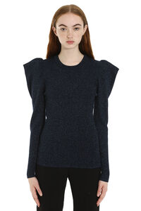 Ribbed lurex knit top, Crew neck sweaters Parosh woman