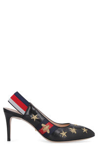 Leather sling-back with Web detail, Mid Heels Gucci woman