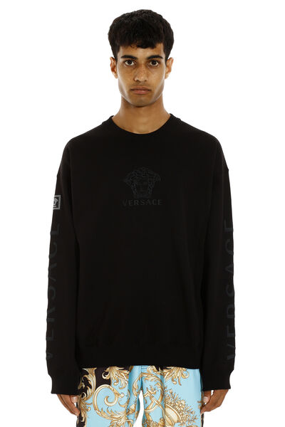 Cotton crew-neck sweatshirt with logo