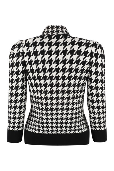 Houndstooth jacquard pullover