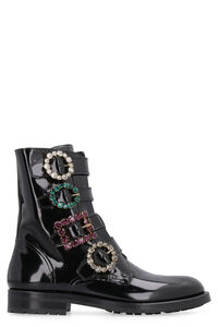 Embellished buckle leather combat boots, Ankle Boots Dolce & Gabbana woman