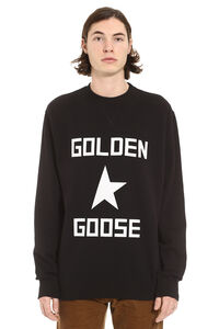 Hisao logo detail cotton sweatshirt, Sweatshirts Golden Goose man