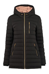 Hooded techno fabric downjacket, Down Jackets Moose Knuckles woman