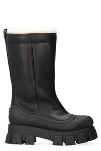 Sheepskin lined leather boots, Ankle Boots Prada woman