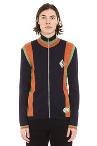 Wool knit jacket with patches, Knitted zip throughs Gucci man