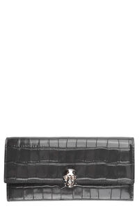 Skull croco print leather wallet, Wallets Alexander McQueen woman