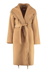 Belted wool cloth coat, Knee Lenght Coats Parosh woman