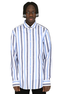 Striped cotton-linen shirt, Striped Shirts BOSS man