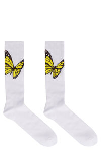 Butterfly detail cotton socks, Socks Palm Angels man