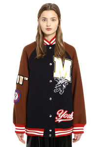Embroidered wool bomber jacket, Bomber MSGM woman