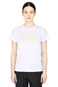Embroidered cotton boyfriend T-shirt, T-shirts Maison Labiche woman