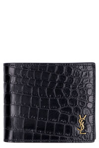 Logo leather wallet, Wallets Saint Laurent man