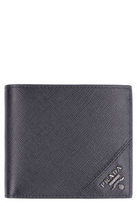 Leather flap-over wallet, Wallets Prada man