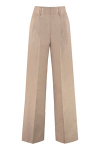 Cotton-linen blend trousers, Wide leg pants MSGM woman