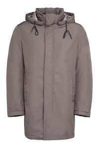 Technical fabric parka, Down jackets add man