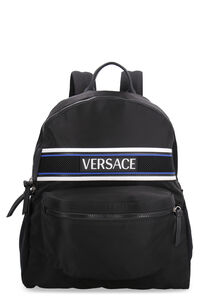 Olympus logo detail nylon backpack, Backpack Versace man