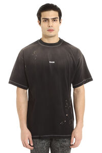 T-shirt in cotone effetto distressed, T-shirt manica corta MSGM man