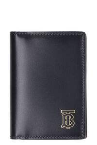 Leather flap-over card holder, Wallets Burberry man