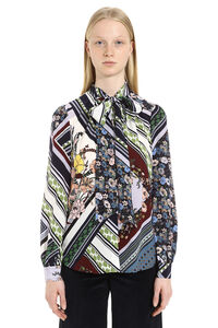 Bow printed blouse with wrinkles, Printed tops Tory Burch woman