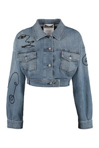 Cropped denim jacket, Denim Jackets Moschino woman