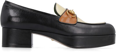 Leather loafers with horsebit
