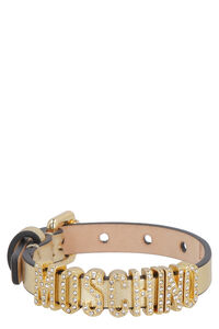 Leather bracelet with gold-tone writing, Bracelets Moschino woman
