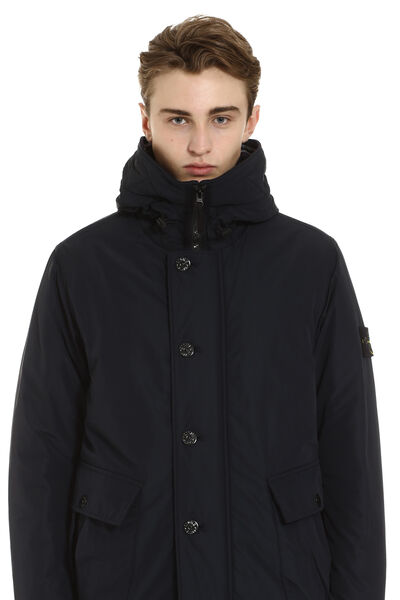 Padded jacket with zip closure and buttons