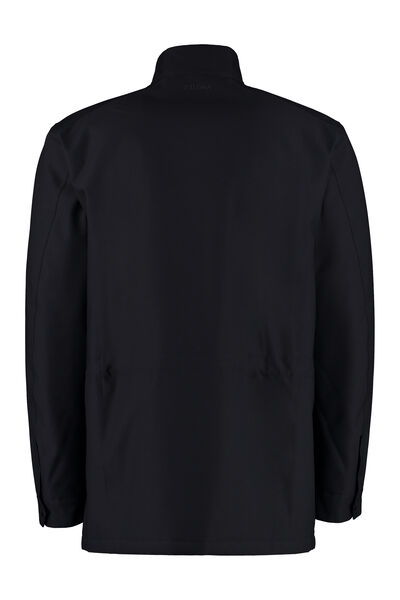 Jacket with zip and button fastening