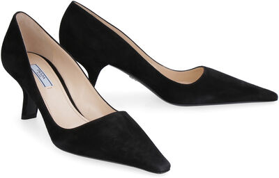 Suede pointy-toe pumps