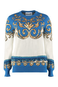 Cotton jacquard sweater, Crew neck sweaters Moschino woman