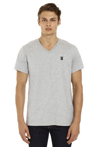 Logo embroidery cotton t-shirt, Short sleeve t-shirts Burberry man