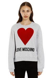 Logo print cotton crew-neck sweatshirt, Sweatshirts Love Moschino woman